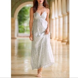 Boston Proper metallic stripe maxi dress